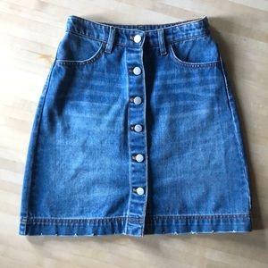 Button- down denim skirt